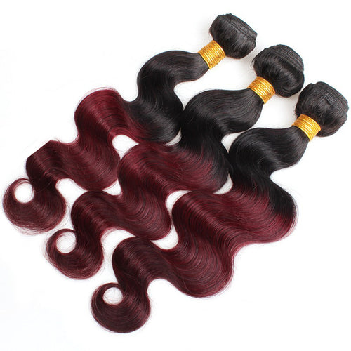 3 Bundles of Black To Red Wine Body Wave Human Hair Weave