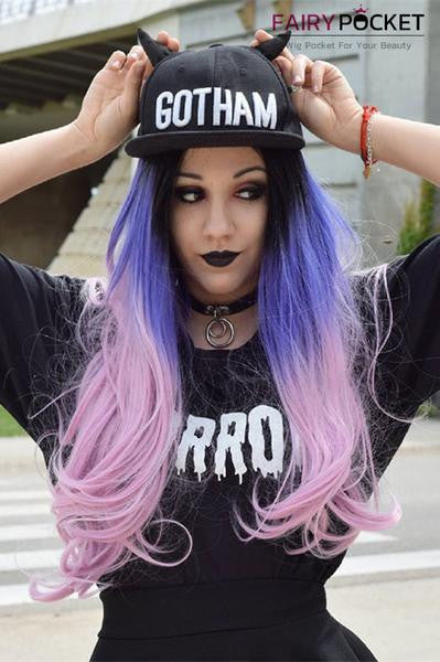 Black Turns Purple To Pink Wavy Synthetic Lace Front Wig