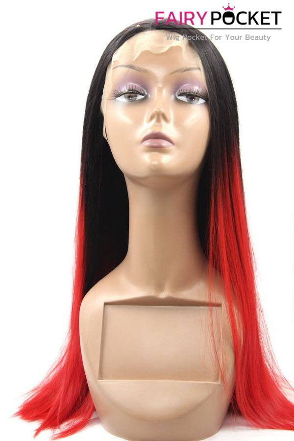 Black to Orange Red Ombre Long Straight Lace Front Wig