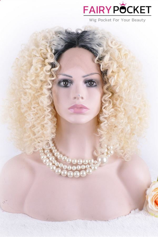 Black to Blonde Ombre Medium  Curly Lace Front Wig