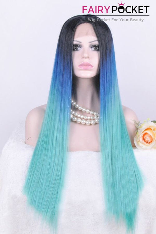 Black to Dark Blue to Cyan Ombre Long Straight Lace Front Wig