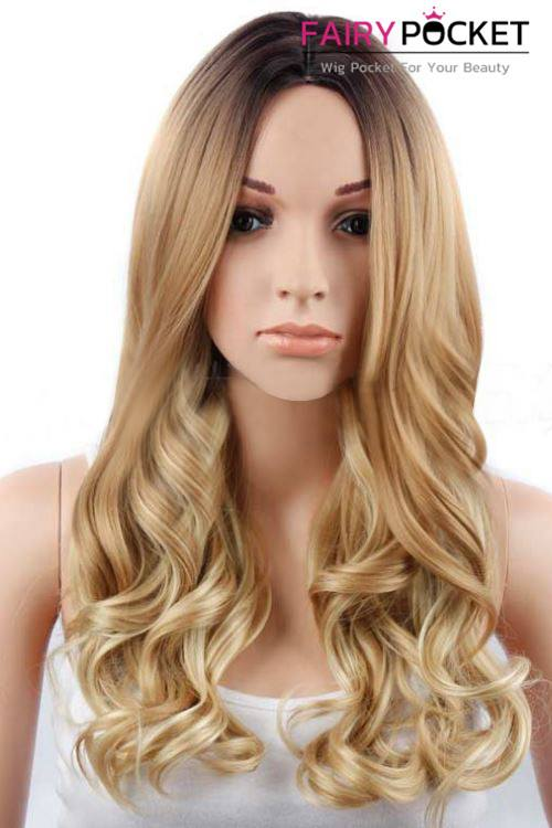 Long Wavy Black to Honey Brown Ombre Basic Cap Wig