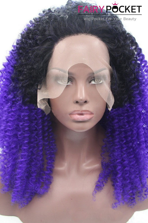 Black to Purple Ombre Middle Curly Lace Front Wig