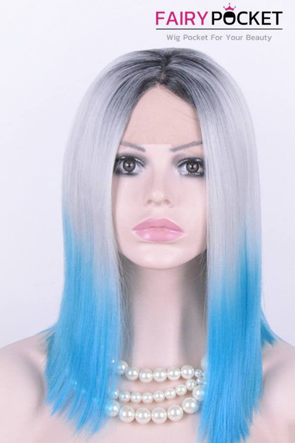 Black turns Whiteto Blue Ombre Medium Straight Lace Front Wig