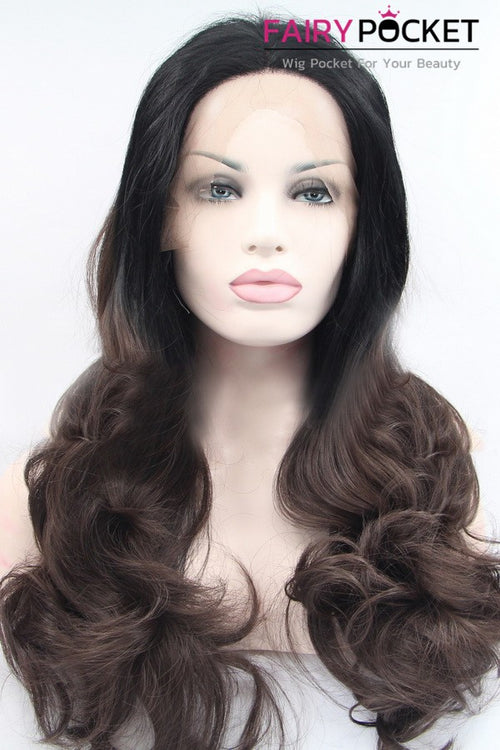 Black to Dark Brown Ombre Long Wavy Lace Front Wig