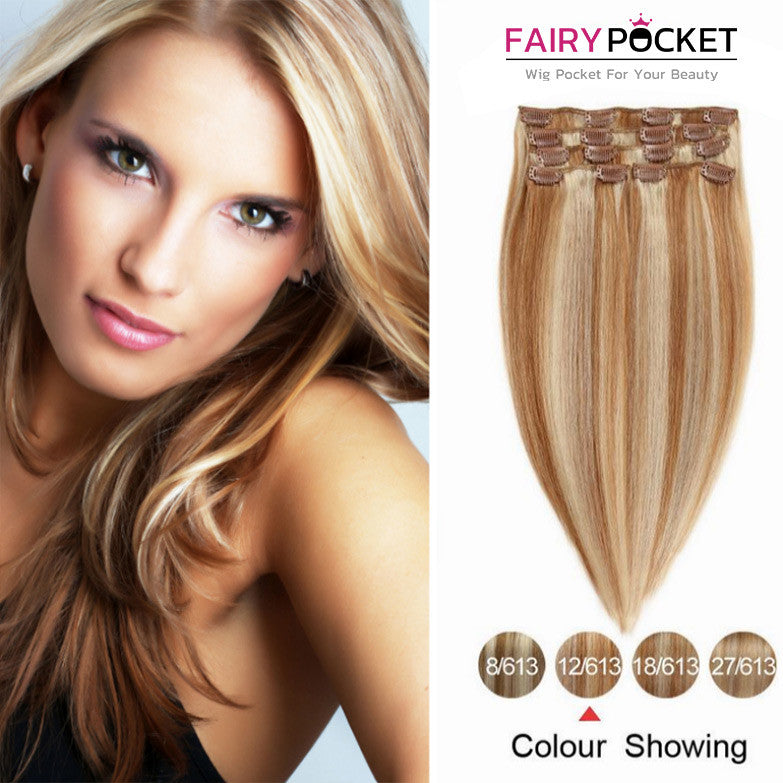 Blonde Mix Light Brown Straight Clip In Remy Human Hair Extentions