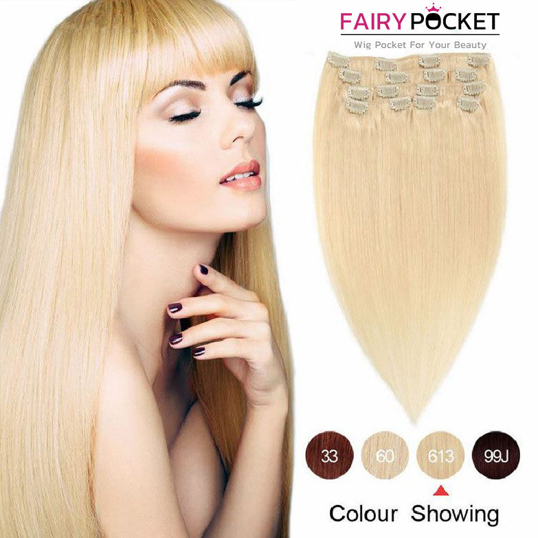 Blonde Straight Clip In Remy Human Hair Extentions