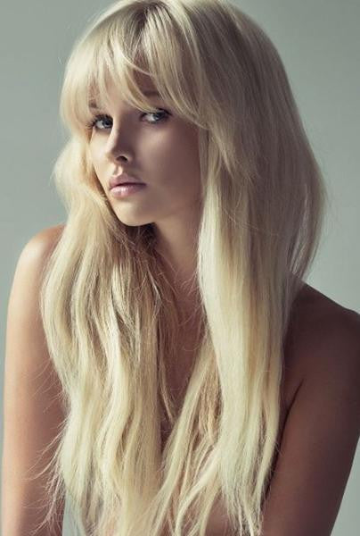 Blonde Full Bangs Wavy Long Remy Human Hair Lace Wig Fairypocket Wigs
