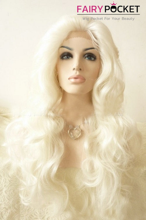 White Blonde Long Wavy Lace Front Wig