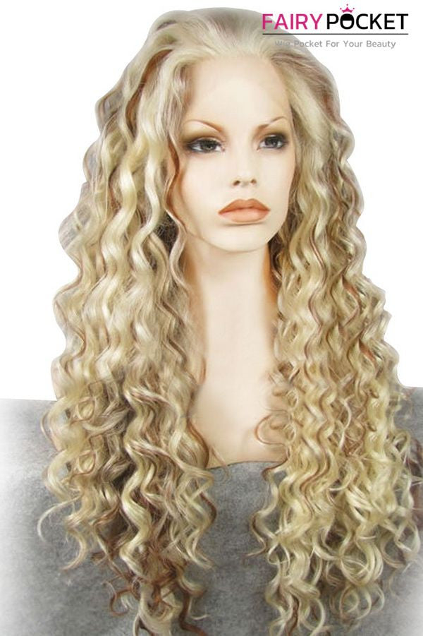 Blonde and Brown Balayage Long Curly Lace Front Wig
