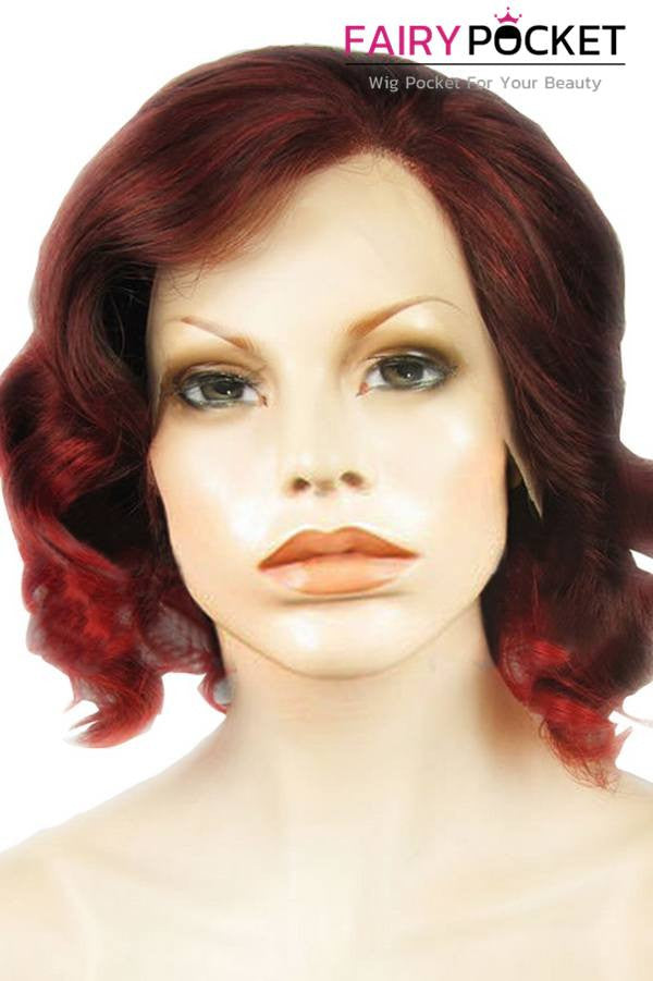 Brown to Poppy Red Ombre Medium Wavy Lace Front Wig