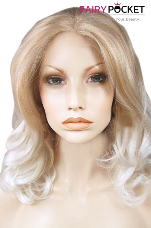 Blonde and White Ombre Medium Wavy Lace Front Wig