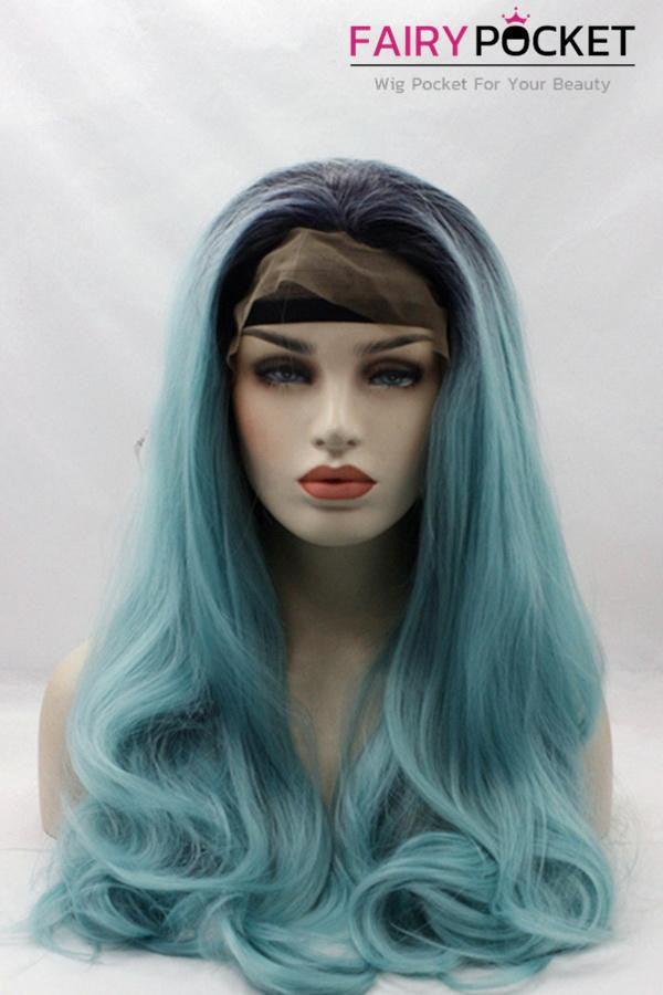 Black to Medium Turquoise Blue Ombre Long Wavy Lace Front Wig