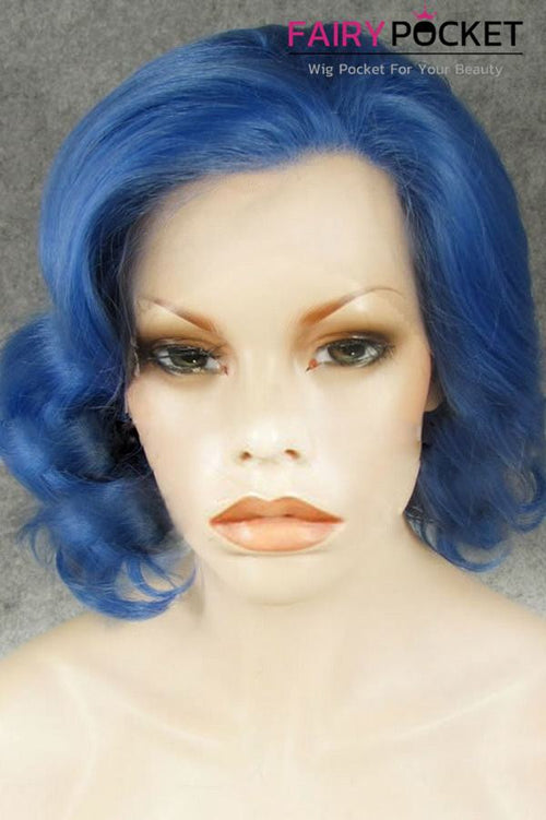 Royal Blue Short Wavy Lace Front Wig