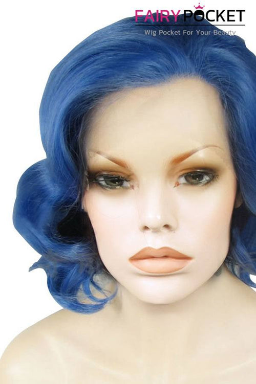 Blue Medium Wavy Lace Front Wig