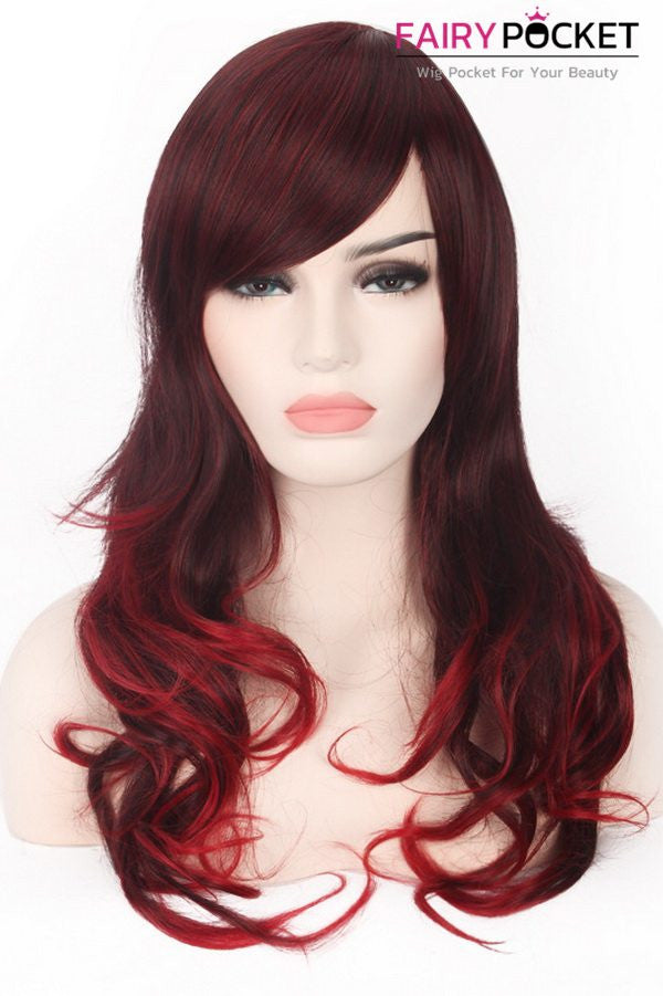 Long Wavy  Brown and Red Basic Cap Wig