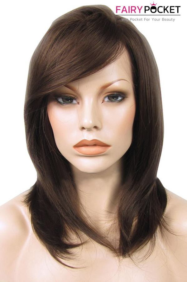 Brown Medium Straight Lace Front Wig