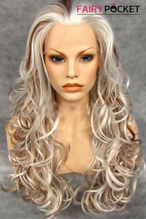 Brown and White Long Wavy Lace Front Wig