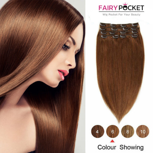 Chestnut Brown Straight Clip In Remy Human Hair Extentions
