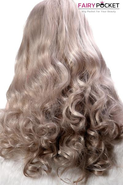 Cool Silver Wavy Synthetic Lace Front Wig