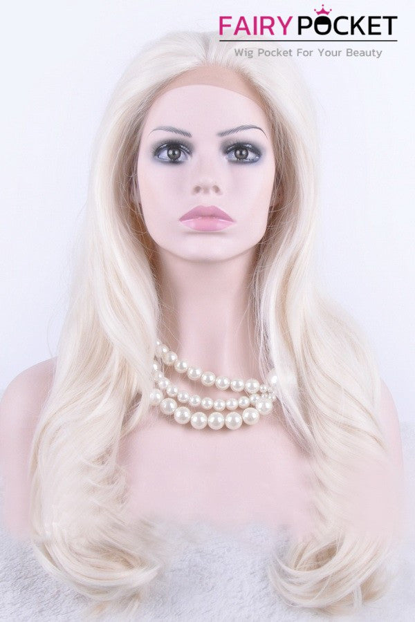 Cool White Long Wavy Lace Front Wig