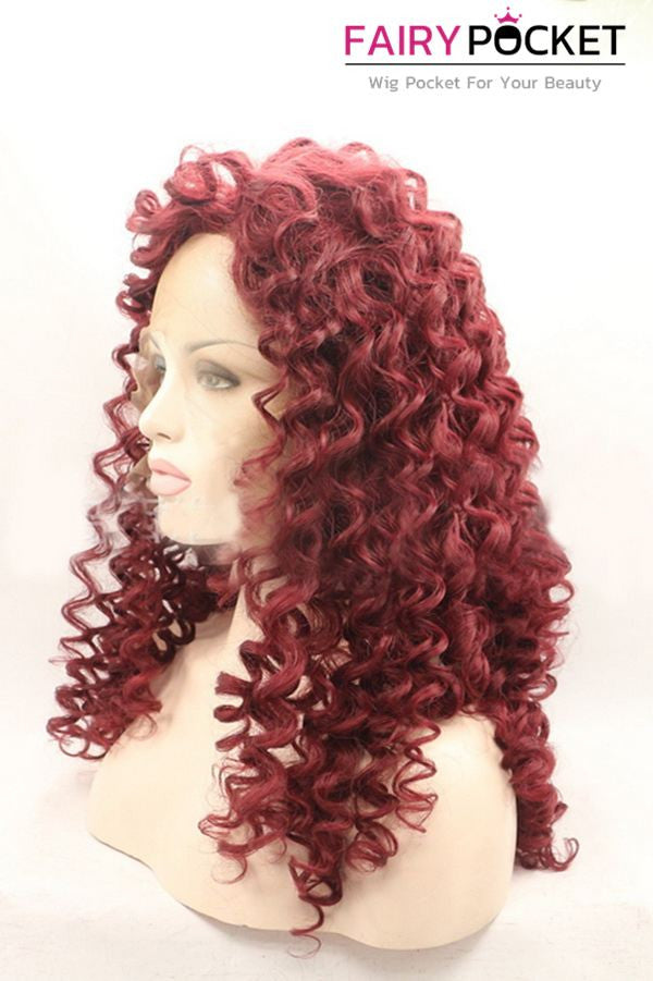 Country Red Long Curly Lace Front Wig