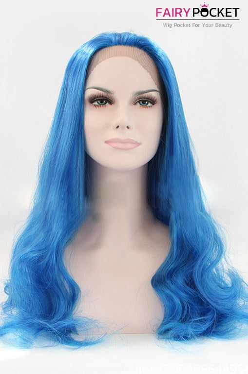 Dark Blue Long Wavy Lace Front Wig