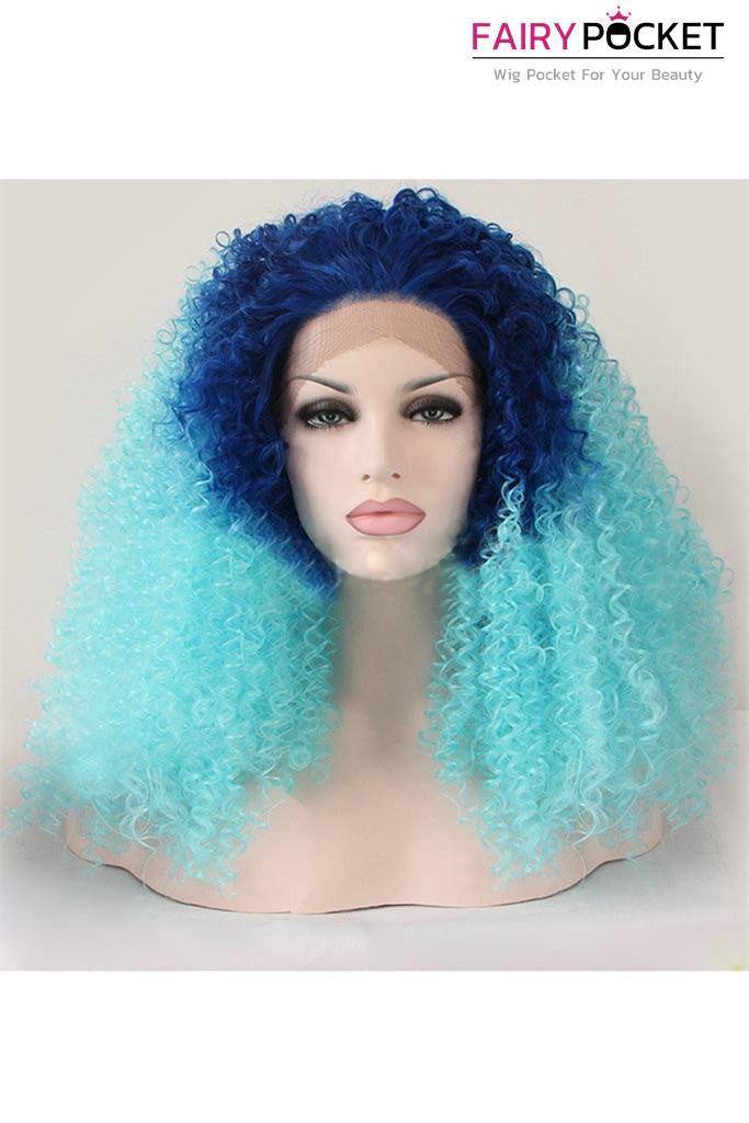 Dark Blue to Cyan Ombre Medium Curly Lace Front Wig