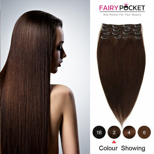 Dark Brown Straight Clip In Remy Human Hair Extentions