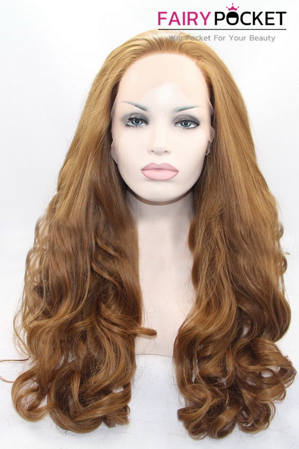 Gorgeous Orange Long Wavy Lace Front Wig