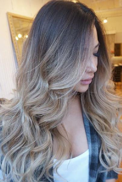 Dark Brown Ombre Blonde Wavy Remy  Human Hair Lace Wig
