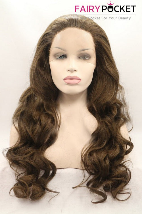 Gorgeous Tan Long Wavy Lace Front Wig