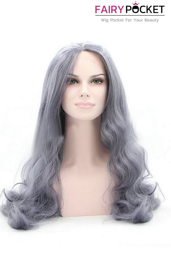 Gunmetal Gray Long Wavy Lace Front Wig
