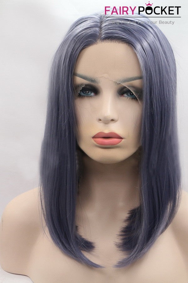 Navy Blue Medium Straight Lace Front Wig