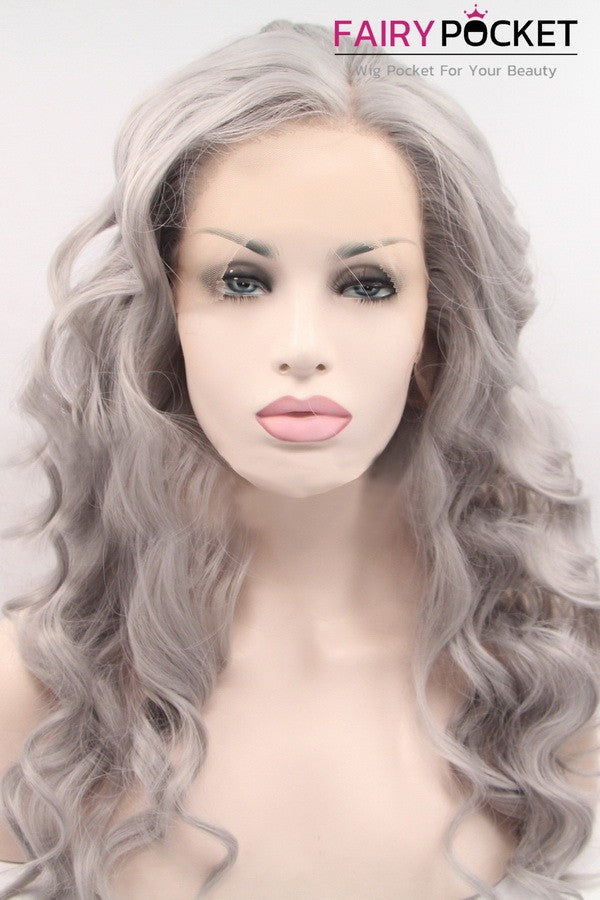 Light Grey Long Wavy Lace Front Wig