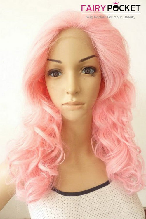 Light Pink Long Curly Lace Front Wig