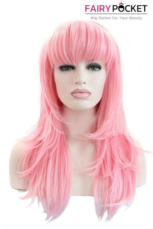 Light Pink Long Wavy Lace Front Wig