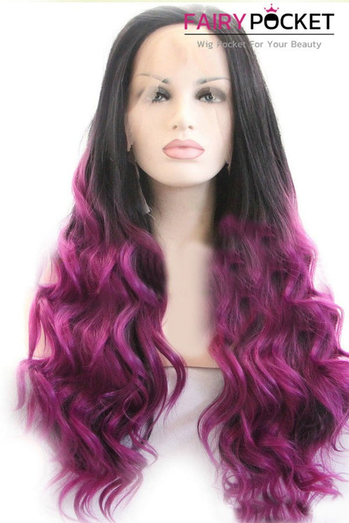 Nature Black to Medium Violet Red Ombre Long Wavy Lace Front Wig