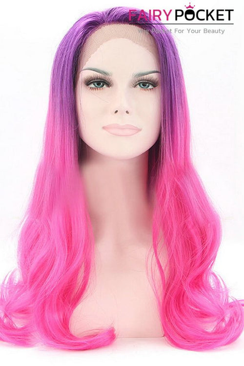 Grape Purple to Hot Pink Ombre Long Wavy Lace Front Wig