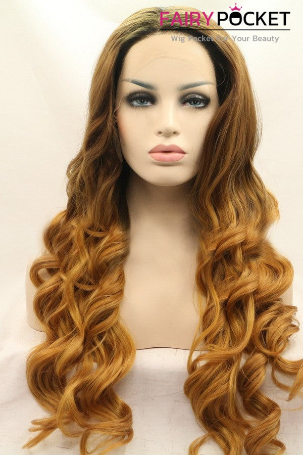 Sable Brown to Honey Brown Ombre Long Wavy Lace Front Wig