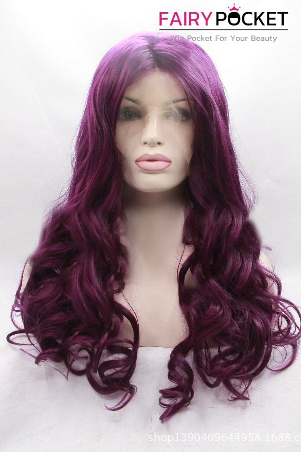 Violet Red Long Wavy Lace Front Wig
