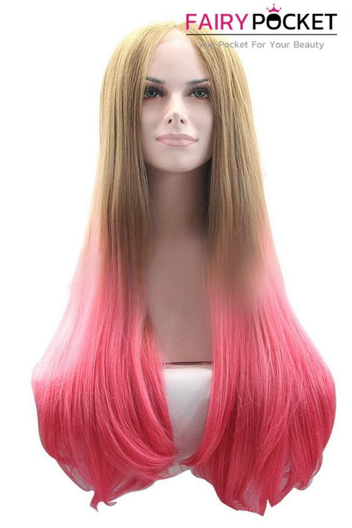 Brown and Blonde to Sorbet Pink Ombre Long Straight Lace Front Wig