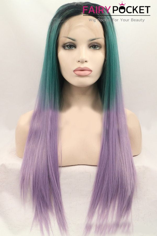 Black turns Forest Green to Light Orchid Ombre Long Straight Lace Front Wig