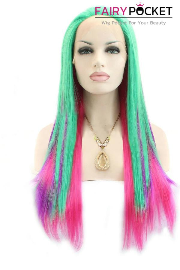 Green and Purple Balayage to Pink Ombre Long Straight Lace Front Wig