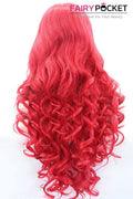 Cadmium Red Long Curly Lace Front Wig