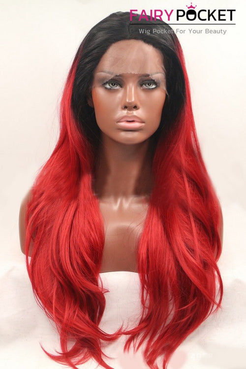 Black to Santa Red Ombre Long Wavy Lace Front Wig