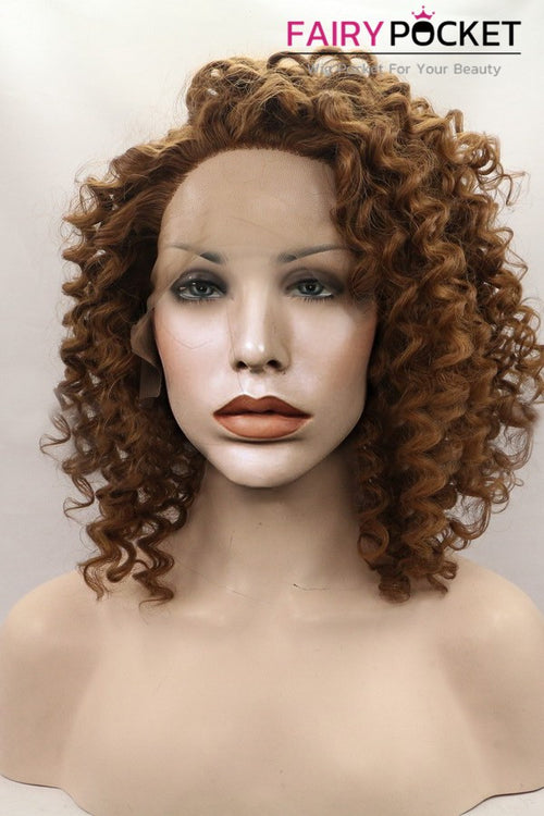 Cocoa Brown Medium Curly Lace Front Wig