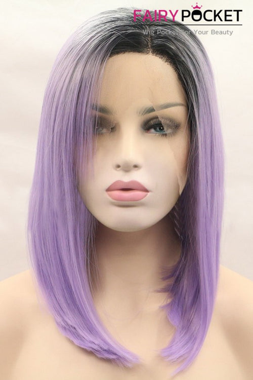 Black to Light Orchid Ombre Medium Straight Lace Front Wig