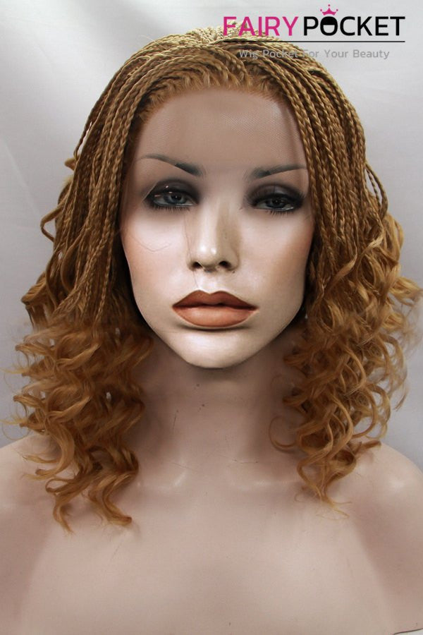 Honey Brown Medium Twist Braids And Curly Lace Front Wig