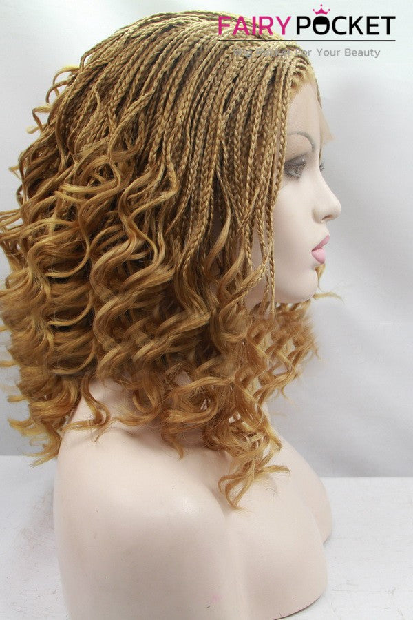 Honey Brown Medium Twist Braids And Curly Lace Front Wig Fairypocket Wigs
